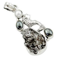 Clearance Sale- 33.10cts natural campo del cielo (meteorite) 925 silver fish pendant d43115