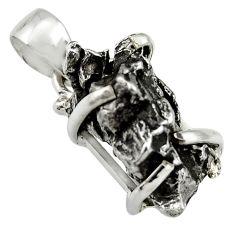 16.82cts natural campo del cielo (meteorite) 925 sterling silver pendant r19078