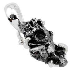 10.15cts natural campo del cielo (meteorite) 925 sterling silver pendant t10798