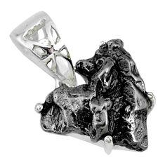 12.04cts natural campo del cielo (meteorite) fancy 925 silver pendant r73600
