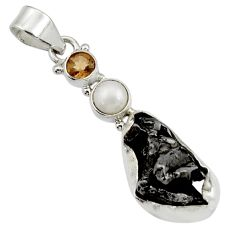 Clearance Sale- 21.20cts natural campo del cielo (meteorite) fancy pearl silver pendant d43112