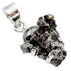 Clearance Sale- 29.34cts natural campo del cielo (meteorite) hematite 925 silver pendant d43140