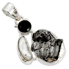 Clearance Sale- 21.18cts natural campo del cielo (meteorite) onyx 925 silver pendant d43103