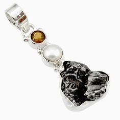 Clearance Sale- 28.30cts natural campo del cielo (meteorite) pearl 925 silver pendant d43108