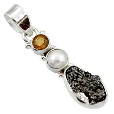 Clearance Sale- 10.75cts natural campo del cielo (meteorite) pearl 925 silver pendant d43125