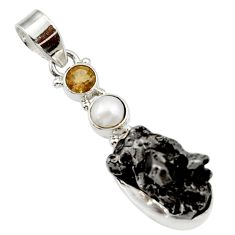 Clearance Sale- 25.00cts natural campo del cielo (meteorite) pearl 925 silver pendant d43127
