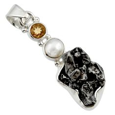 Clearance Sale- 27.70cts natural campo del cielo (meteorite) pearl 925 silver pendant d43130