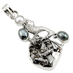 Clearance Sale- 29.78cts natural campo del cielo (meteorite) pearl silver fish pendant d43110