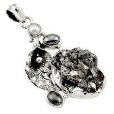 Clearance Sale- 43.12cts natural campo del cielo (meteorite) silver deltoid leaf pendant d43101