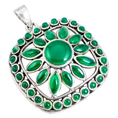 11.56cts natural green chalcedony 925 sterling silver pendant jewelry c16754