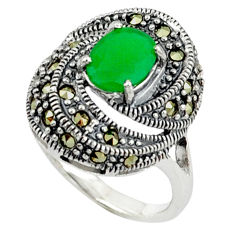 Natural green chalcedony marcasite 925 sterling silver ring size 6.5 c17284