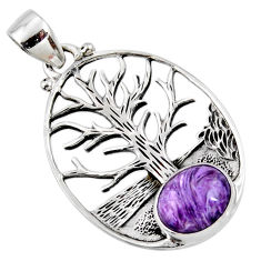 5.13cts natural charoite (siberian) 925 silver tree of life pendant r52988
