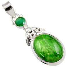 Clearance Sale- 16.46cts natural chrome diopside emerald 925 silver honey bee pendant d42016