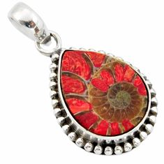 13.85cts natural coral in ammonite 925 sterling silver pendant jewelry r40396