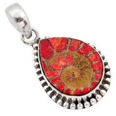 12.14cts natural coral in ammonite 925 sterling silver pendant jewelry r40399