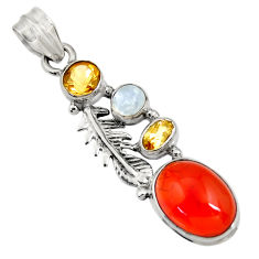 9.39cts natural cornelian (carnelian) moonstone silver feather pendant d43649