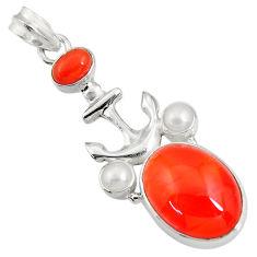 Clearance Sale- 15.69cts natural cornelian (carnelian) pearl 925 silver anchor pendant d43670