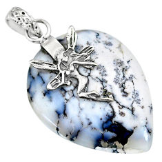 17.82cts natural dendrite opal (merlinite) 925 silver angel fairy pendant r91213