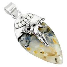 20.07cts natural dendritic quartz 925 silver angel wings fairy pendant t10688