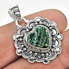 4.70cts natural desert druzy (chalcedony rose) 925 silver heart pendant t56116