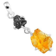 8.80cts natural diamond rough citrine raw 925 sterling silver pendant r91895