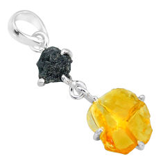 8.18cts natural diamond rough citrine raw 925 sterling silver pendant r91898