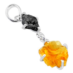 9.40cts natural diamond rough citrine raw 925 sterling silver pendant r91900