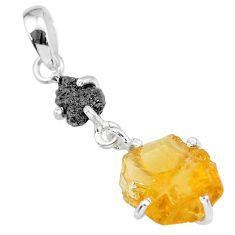 7.80cts natural diamond rough citrine raw 925 sterling silver pendant r91901