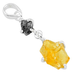 8.18cts natural diamond rough citrine raw 925 sterling silver pendant r91903