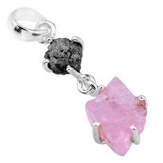 8.80cts natural diamond rough rose quartz raw 925 silver pendant r91888