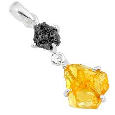 8.15cts natural diamond rough yellow citrine raw 925 silver pendant r91902