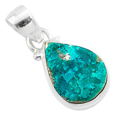 6.95cts natural dioptase 925 sterling silver handmade pendant jewelry t3170