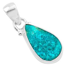 6.95cts natural dioptase 925 sterling silver pendant jewelry t3181