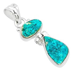 9.37cts natural dioptase 925 sterling silver pendant jewelry t5807