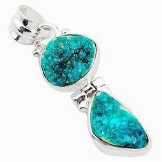 10.30cts natural dioptase fancy shape 925 sterling silver pendant jewelry t5810