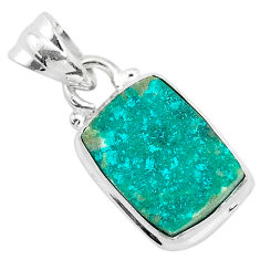 5.54cts natural dioptase octagan 925 sterling silver pendant jewelry t3189