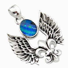 3.37cts natural doublet opal australian 925 silver feather charm pendant r52896