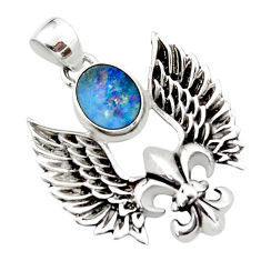 3.61cts natural doublet opal australian 925 silver feather charm pendant r52897