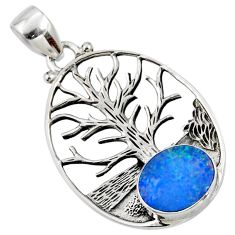3.42cts natural doublet opal australian 925 silver tree of life pendant r52997