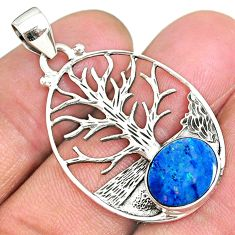 3.79cts natural doublet opal australian 925 silver tree of life pendant r90433