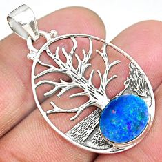 3.75cts natural doublet opal australian 925 silver tree of life pendant r90434
