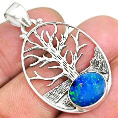 3.68cts natural doublet opal australian 925 silver tree of life pendant r90435