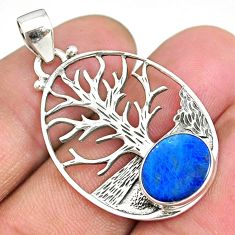 3.92cts natural doublet opal australian 925 silver tree of life pendant r90436