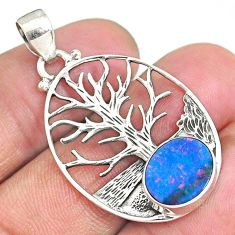 3.85cts natural doublet opal australian 925 silver tree of life pendant r90437