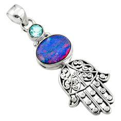 3.84cts natural doublet opal australian silver hand of god hamsa pendant r52781