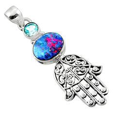 3.83cts natural doublet opal australian silver hand of god hamsa pendant r52792