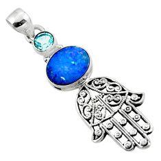 4.14cts natural doublet opal australian silver hand of god hamsa pendant r52831