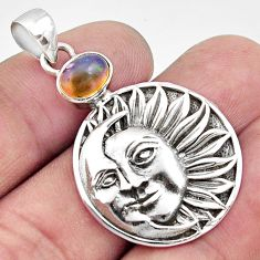 2.11cts natural ethiopian opal 925 silver crescent moon star pendant d44999