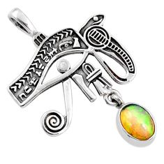 2.09cts natural ethiopian opal 925 sterling silver horse eye pendant r67813