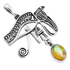 2.01cts natural ethiopian opal 925 sterling silver horse eye pendant r67819